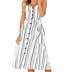 Spaghetti Strap Button Down Midi Dress w Pockets